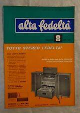 ALTA FEDELTA N.8/1960 QUARTA TRACCIA STEREOFONIA ALTOPARLANTE SISTEMA STEREO