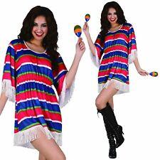 Mexican Poncho Dress Girl Lady Womens Costume Fancy Dress Wild West Fiesta