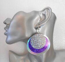FAB Enorme púrpura Triple Capa Con Lentejuelas Holograma pendientes opción-Clip - + Collar