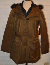 Women's A.N.A Brown Lightweight Faux Fur Hood Military Jacket Coat & Belt Sz PL