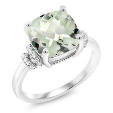3.62 Ct Cushion Checkerboard Green Prasiolite 925 Sterling Silver Ring