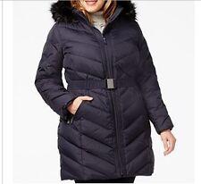 DKNY Women's Winter Black Down puffer parka hooded coat jacket plus1X 2X $300