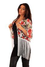 Chiffon Fringe Cape Shrug Jacket Cardigan Kimono Evening Size 8 10 12 14 16 18
