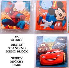 Paquete De Papel De Notas De Pie Disney Cars Hombre Araña Mickey niños hoja cuadrada 200 Colr