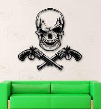 Wall Stickers Vinyl Decal Revolver Gun Skull Dead Mafia (ig492)