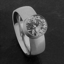 Edelstahl Ringe Brilliantschliff groß Zirkonia Bandring breiter Damen Silber