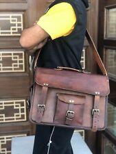 Leather Handmade Messenger Shoulder Men Satchel Laptop School Sim Briefcase Bag