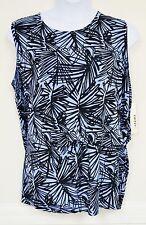 Dkny Dknyc Shirt Black Light Blue Knit Top Plus Size NEW 2X Sleeveless