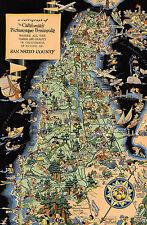 Pictorial Map Cartograph California Peninsula San Mateo Wall Art Poster Vintage