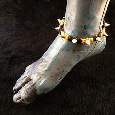 HOTI Hemp Handmade Black Yellow Anklet Heavy Metal Studs Spikes Ankle Bracelet