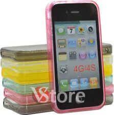 Cover Custodia Per iPhone 4/4G Silicone Gel TPU Semi Trasparente Con Cerchi