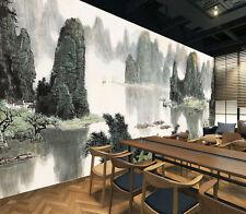 3D Paysage D'encre Photo Papier Peint en Autocollant Murale Plafond Chambre Art