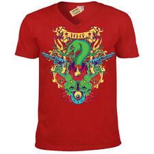 Honor T-Shirt snake skull guns Mens V-Neck