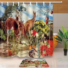 "Cute Australian Kangaroo Bathroom Waterproof Fabric Shower Curtain & Hook 71*71"""