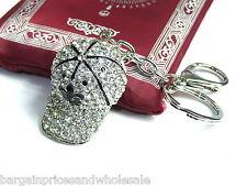 Silver Gold Hat Cap Keyring Sparkling Rhinestone Diamante Handbag Buckle Charm