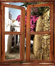 Sticker mural fenêtre trompe l'oeil déco Ruelle fleuries réf 2516