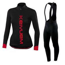 Ladies Cycling Bib Kit Women's Long Sleeve Cycle Jersey Compression Bib Pants