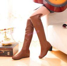 Vogue Womens Knee High Boots Flats Hidden Heels Buckle Zipper Leather ALL AU Sz