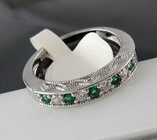 Bandring Ring 925er Sterling Silber Halb-Memory Smaragd Synth. Zirkonia 54 56 59