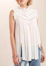 POL Boho Bohemian Victorian neck sleeveless Lace detailed top - Ivory S M L