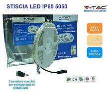 V-TAC STRISCIA LED FLESSIBILE ADESIVA BOBINA 5 METRI 5050 IP65 120°  VT-5050