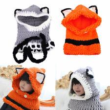 Cute Boy Girl Kids Warm Knitted Fox Cat Ear Hat Cap Hooded Scarf Earflap Beanies