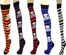 Ladies Women Striped Skull Crossbones Long Over The Knee Socks-Halloween Party