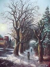 schönes, altes Künstle-Gemälde__belebte Winterlandschaft___Kips___Top !
