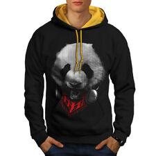 Panda With Headset Animal Men Contrast Hoodie NEW | Wellcoda