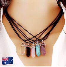 Crystal Shaped Gemstone Pendant Necklaces