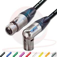 Van Damme & Neutrik Female XLR to Angled Male XLR Cable. Star quad Lead 8m 2m 1m