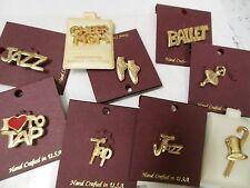 New/card Goldtone Push Tac Pin Dance Theme Ballet Pointe Tap Jazz Dancer Gift