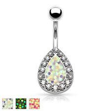 "Opal Glitter Center CZ Tear Drop Surgical Steel Navel Belly Button Ring 14g 3/8"""