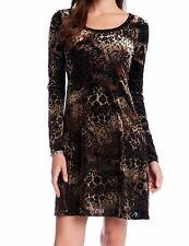 Karen Kane 3L41148 Brown/Black Animal Print Burnout Stretch Velvet Dress - $128