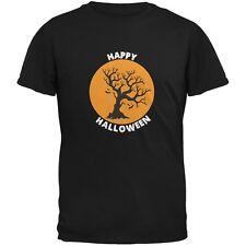 Happy Halloween Tree Silhouette Black Adult T-Shirt