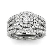 1 1/4ct Cushion Halo Diamond Engagement Wedding Ring Set 10K White Gold