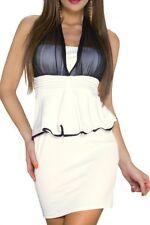 SeXy Miss Damen Peplum Pencil Mini Kleid Schößchen Dress S 34 L 38 schwarz creme