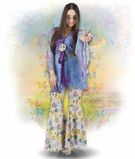 3tlg. Hippie Kostüm + Kette 70er Jahre Damen,Karneval Mottoparty 36-38,40-42