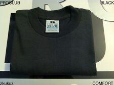 3 NEW PROCLUB COMFORT PLAIN T-SHIRT BLANK BLACK TEE PRO CLUB S-3XL 3PC