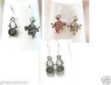 Alice in Wonderland inspired White Rabbit Watch Clock  earrings 925 silver hooks