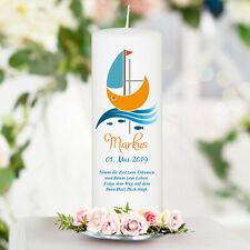 Taufkerze Kerze zur Taufe Kommunion weiß Boot Schiff Jesuskreuz Stumpenkerze