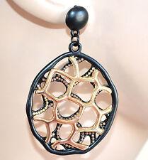 Orecchini ORO NERO donna cerchi pendenti chiodini dark gothic sexy earrings 1335