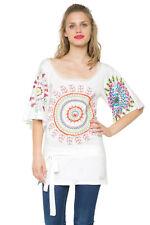 DESIGUAL women's Long Pretty Paillettes Blanc ELIONA T-Shirt S-XXL RRP 74