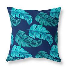 Turquoise Floral Zip FILLED CUSHION Blue Designer