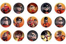 The Incredibles Pre-Cut 1 Inch Bottle Cap Images (3 Options)