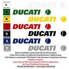 DUCATI sponsor sticker helmet tuning adesivi vinile fustellato moto 2 pz. cm. 20