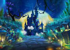 10x8ft Fairytale Halloween Night Cemetery Castle Photo Background Vinyl Backdrop
