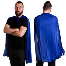 "BLUE SUPERHERO CAPE 40"" LONG HALLOWEEN FANCY DRESS ADULT COSTUME MENS LADIES"