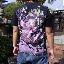 New Mens T-Shirt Embroidery Japanese Yokosuka Totem Tattoo Carp Koi High Quality