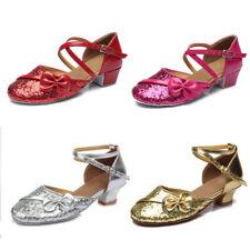 Ballroom tango latin dance shoes children girls women kids Low heeled